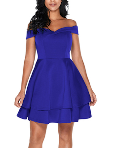 Off shoulder skater jurk blauw