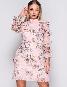 Floral frill floral dress pink