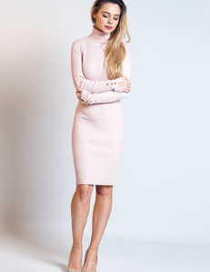 Knitted bodycon dress baby-pink