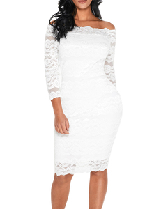 Off shoulder lace dress white