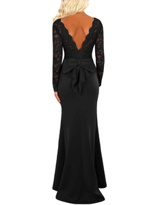 Lace bow tie backless dress black