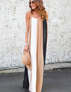 Colorblock chiffon dress nude