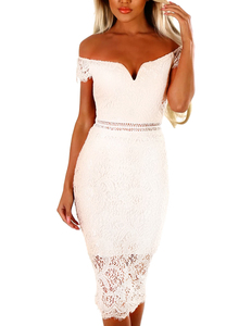 White lace off shoulder dress