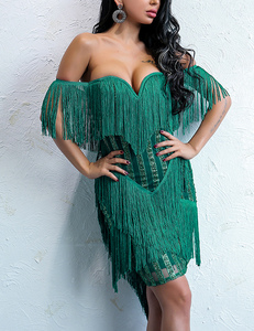 Strapless fringe dress green