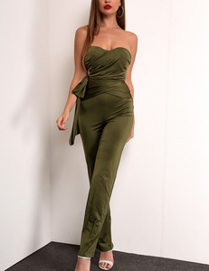 Glossy strapless jumpsuit green