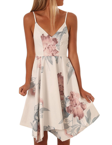 Floral swing dress white