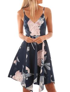 Floral swing dress blue