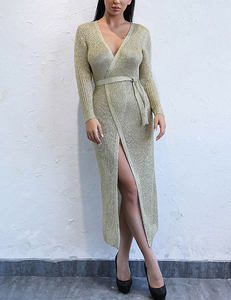 Metallic wrap dress long