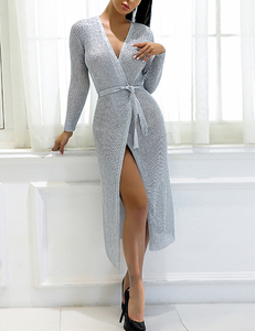 Metallic wrap dress long silver