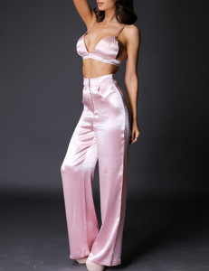 Crepe satin 2piece pink