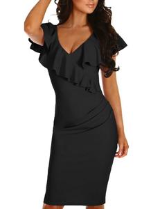 Ruffle bodycon jurk zwart