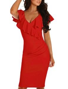 Ruffle bodycon jurk rood