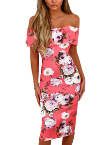 Backless bardot midi pink