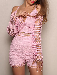 Cut out playsuit roze