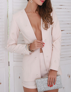 Two piece pearl set apricot