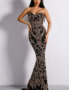 Strapless sequined dress zwart goud