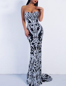 Strapless sequined dress zwart zilver