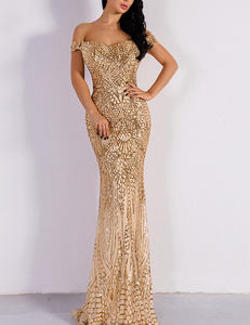 Sequined off shoulder dress goud