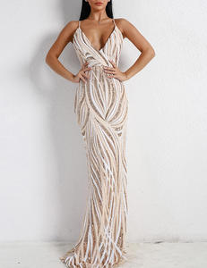 Strappy sequin dress nude