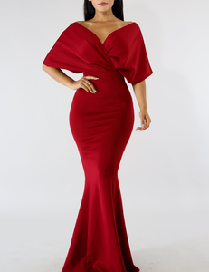 Mermaid off shoulder dress rood