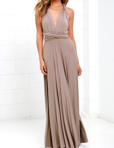 Taupe multi-maxi dress