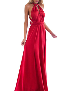 Red multi-maxi dress
