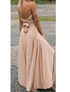 Nude multi-maxi dress