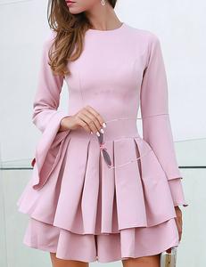 Plated skater jurk roze