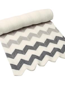 Zigzag baby deken grijs