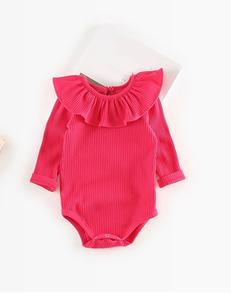 Baby romper ruffle donker roze