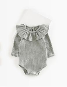 Baby romper ruffle grijs