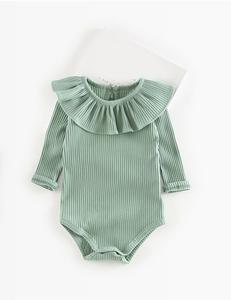 Baby romper ruffle groen