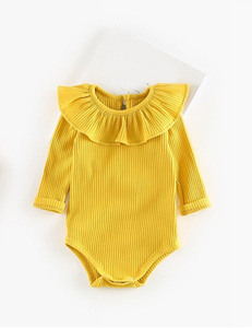 Baby romper ruffle geel