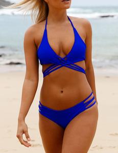 Blauwe criss cross bikini