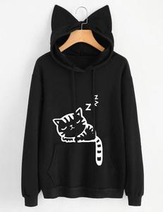 Sleeping cat sweater zwart