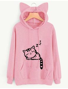 Sleeping cat sweater roze