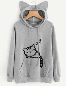 Sleeping cat sweater grijs