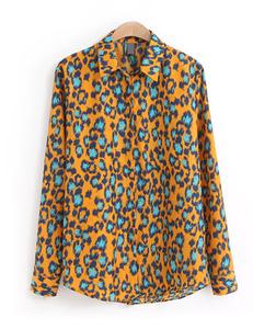 Gele luipaard blouse