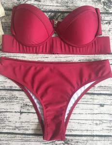Strapless bikini rood