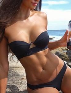 Strapless bikini zwart