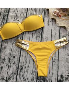 Gouden strapless bikini geel