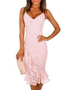 Lace frill midi dress roze
