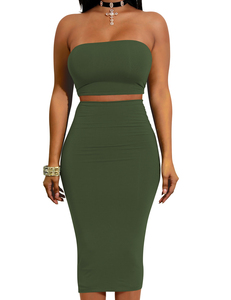 Strapless 2piece set groen