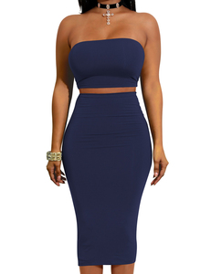 Strapless 2piece set blauw