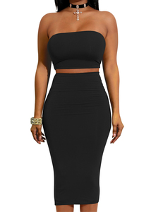 Strapless 2piece set zwart