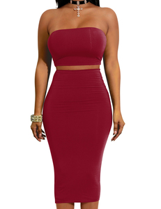 Strapless 2piece set rood