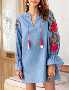 Denim rose tunic