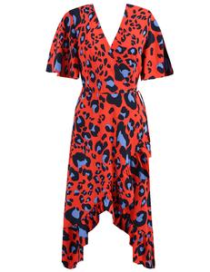 Luipaard ruffle jurk rood