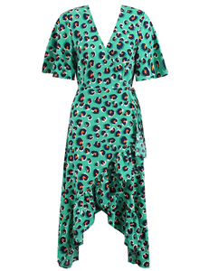 Luipaard ruffle jurk groen