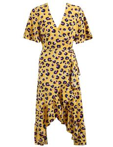 Luipaard ruffle jurk geel